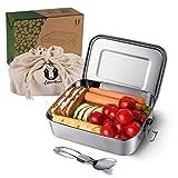 Uarter Brotdose Edelstahl Bento Box 1200ml BPA-freie Picknick Brotdose mit Klapplöffel und Trennwand für gesunde Snacks, Brot, Fingerfood