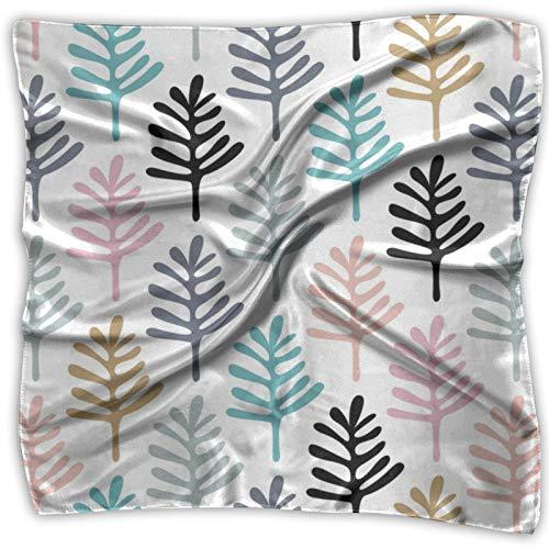 Bandanas multifuncionales unisex de color azul ocre de hojas de jardín para la cabeza, pañuelo cuadrado de bolsillo de seda para diadema, envoltura, cobertura protectora de 24 x 24 pulgadas
