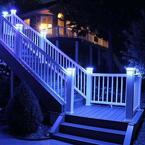 Solar Post Cap Lights Outdoor Super Bright 20 Lumen 2Pack 4 Adaptors for 4x4 5x5 6x6 3.5x3.5 White Fence Post Lamp Deck Postcap Light Waterproof Warm White LED Caps Lantern for Yard Walkway Porch