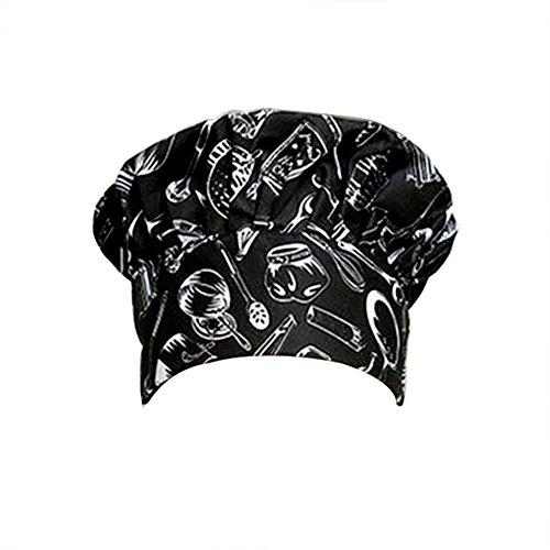 Dosige Chef Hat Hotel Camarero Suministros de Cocina Tienda de Pasteles Gorro de Tela Hombres y Mujeres Chef Trabajo Tapa Plisada Tapa de Seta(Patrón de Cocina Negro)
