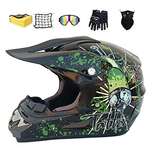 NJYBF Motocross Helm Motorrad Crosshelm Kinder Set, mit Mehrere EntlüFtungsöFfnungen Coole Form Schnellverschluss Futter (XL (58-59 cm))