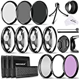 Neewer 72MM Kit de Filtre Objectif avec 72MM UV,CPL,FLD, ND (ND2,ND4,ND8), Close up Macro (+1,+2,+4,+10), Mini Trépied au Table et Autres Accessoires pour Lentilles avec Filtre de 72MM