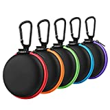 Earphone Carry Case, SUNGUY [5-Pack] Small Round Pocket Earbud Travel Carrying Case with Colorful Zipper for Smartphone...