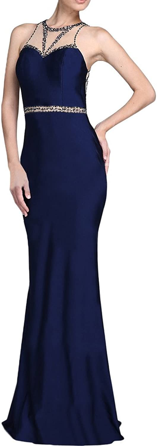MILANO BRIDE Stunning Mermaid Sleeveless Beads Evening Dress Formal Prom Gown