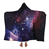 3D Printed Throw Wearable Hooded Blanket Hood Poncho Cloak, Starry Sky Sherpa Thicken Warm Plush for Women&Girl,Magic Hat Winter Novelty Blanket for Watch TV Sofa Lounge Bed Napping (Y07, 150x130cm)