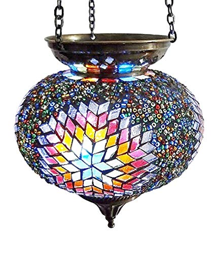 Wghz Moroccan Turkish Mosaic Hanging Lamp Hanging Candle Holder Lamp Table Or Desk Lamp Lamps Bronze Effect Handmade Unique Crushed Glass Tiffany Style Turkish Moroccan Lamp Multi Coloured