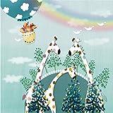 Dalxsh Giraffe Hot Air Balloon Rainbow Cartoon Children'S Room High-Grade Wall Cloth Wallpaper Mural Photo Wall -350X250Cm