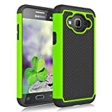 Galaxy Sky Case,Galaxy J3 2016/J3 V Case,Galaxy Express/Amp Case,Galaxy Sol Case, Jeylly Shockproof Dual Layer Armor Defender Scratch Absorbing Hybrid Rubber Plastic Phone Case Cover - Green