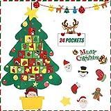 Calendario dell'Avvento, Feltro Albero di Natale con 24 Giorni Tasche Conto alla rovescia di Natale Decorazioni del Calendario per Bambini Casa Ufficio Porta Parete Decor + 1 PZ Banner