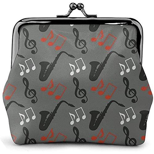Rits Koppeling, Muziek Opmerkingen Treble Clef Saxofoon Microvezel Pu Lederen Aantrekkelijke Muntportemonnee voor Outdoor Travel Gathering, 11.5(W) x10.5(L) x3(T) cm