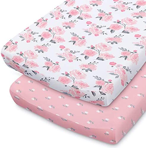 The Peanutshell Pink Floral Changing Pad Cover Set for Baby Girls 2 Pack Set Pink Roses Ditsy product image