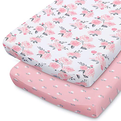 The Peanutshell Pink Floral Changing Pad Cover Set for Baby Girls | 2 Pack Set | Pink Roses amp Ditsy Floral