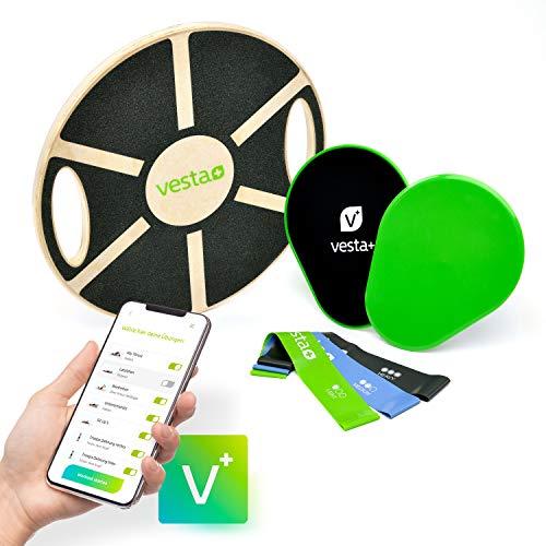Vesta+ Balance Board Holz Fitness APP + 3X Fitnessbänder + 2X Slider | Wackelbrett Balance Board Testsieger als Physiotherapie Fitness Balance Board Erwachsene