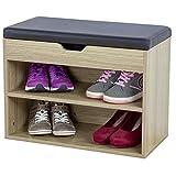 Albatros Mueble para Zapatos Vito, Roble, 60 cm, Asiento con cojín, Acolchado
