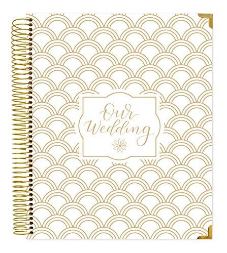 "bloom daily planners Wedding Planner/Organizer & Keepsake Journal - Undated Hardcover Engagement Gift Book with Planning Tools for The Bride to Be (9"" x 11"") - Gold Foil Scallops"