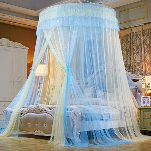 BSTQC Moskitonetz, Deckenmontage, Spitze, Kuppelbett, Betthimmel, Prinzessinnenzelt, Bettvorhang für Zuhause, Reisen Gelb, Blau