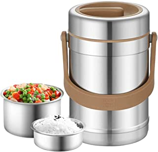 Lunch Box Containers Bento-Boxes 3-Compartment Portable Stainless Steel Bucket Adult Kids School/Office/Hospital/Camping 2L