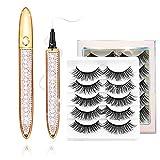 2021 Magic Self-adhesive Eyeliner Pen with Eyelashes Kit,2 in 1 Eye Liner Lash Glue Pen,5 Pairs 3D Faux Mink False Eyelashes,Waterproof&Long Lasting for Eye Makeup
