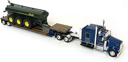 Die Cast Promotions (DCP) 1/64 Blue Kenworth W900 Pulling Husky Tank on Double Drop Tr