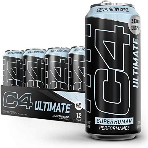 C4 Ultimate Sugar Free Energy Drink 16oz (Pack of 12)   Arctic Snow Cone   Pre Workout Performance Drink with No Artificial Colors or Dyes