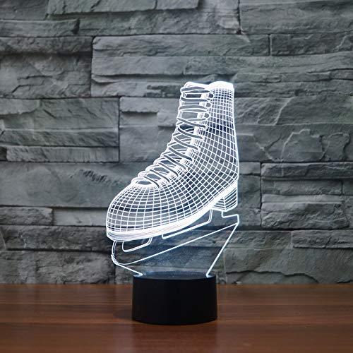 Lámpara de noche, luz nocturna 3d, deporte creativo Botas de patinaje de hockey sobre hielo de ruedas Diseño Iluminación Mejores regalos Halloween Cumpleaños Ilusión Niños 7 colores Cambiar familia