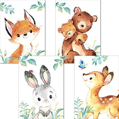 LALELU-Prints | A4 Poster Kinderzimmer Deko Junge Mädchen | Zauberhafte Wald-Tiere | Bilder Babyzimmer | 4er Set Kinderzimmerbilder (DIN A4 ohne Rahmen)