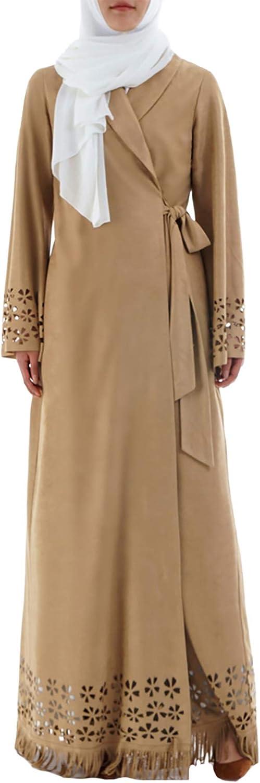 YI HENG MEI Women's Muslim Suede Long Sleeve Flowers Tassels Maxi Open Abaya Dress Wraped