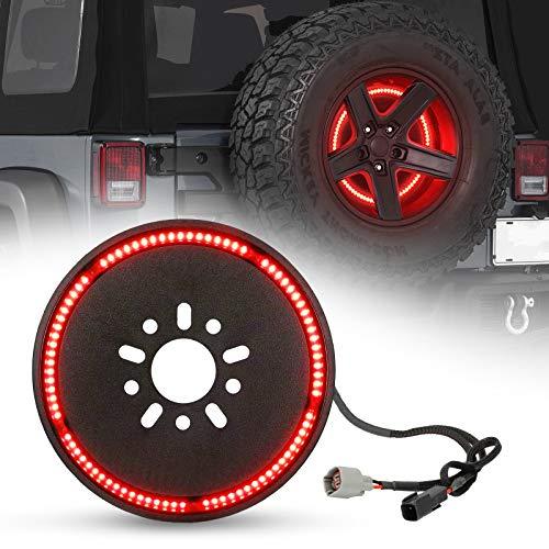 SUPAREE (Plug and Play) Spare Tire Brake Light Wheel Light 3rd Third Brake Light for Wrangler 2007-2017 JK JKU YJ TJ,Red Light