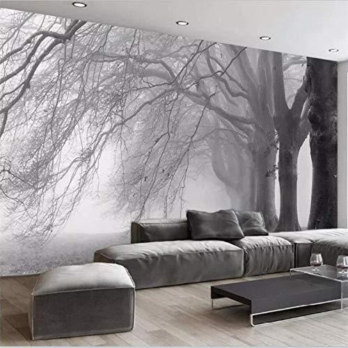 Shuangklei behangen u op maat gemaakte woonkamerslaapkamer-behangmuurboom zwart-wit-abstracte boom-sofadecoratie 280 x 200 cm.