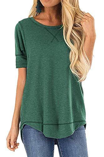 Women Short Sleeve Summer T-Shirts Tops Round Neck Summer T-Shirt Tunic Tops(L, A-Green)