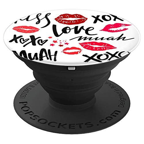 Cute Red Kisses Pattern   Love XOXO Lipstick PopSockets Grip and Stand for Phones and Tablets