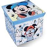 Cassapanca per bambini con pouf portaoggetti, motivo: Disney, 30 x 30 cm