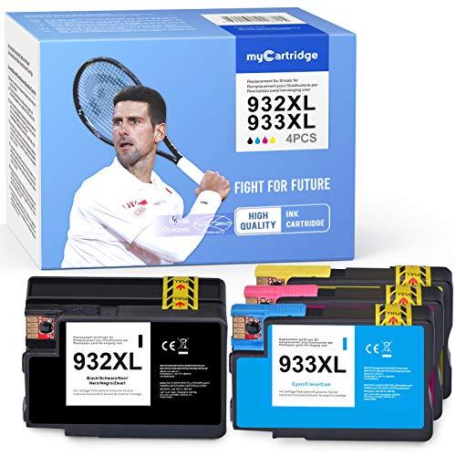 Mycartridge Cartuchos de tinta compatibles con HP 933, 932 XL, 932XL y 933XL (negro, cian, magenta y amarillo)