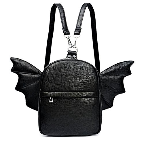 Women Fashion Mini Backpack   Detachable Bat Angel Wing Shoulder Bag (Black)