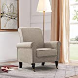Haobo Elegant Refined Club Chair Accent Chair with Nailheads Trim for Living Room Sofa Chair, Khaki Gray