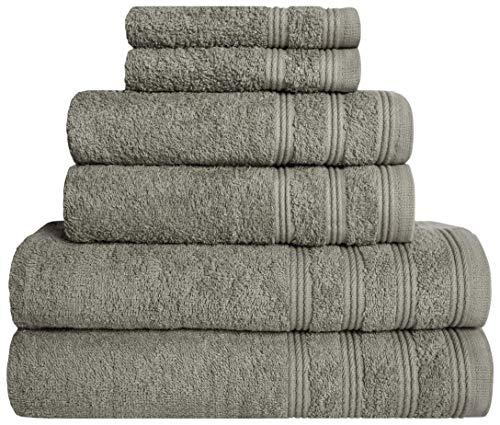Juego de toallas de baño de 6 piezas – 2 toallas de baño, 2 toallas de mano, 2 toallas de mano, 2 manoplas – 100 % algodón – 400 g/m² – Suave y absorbente (gris)