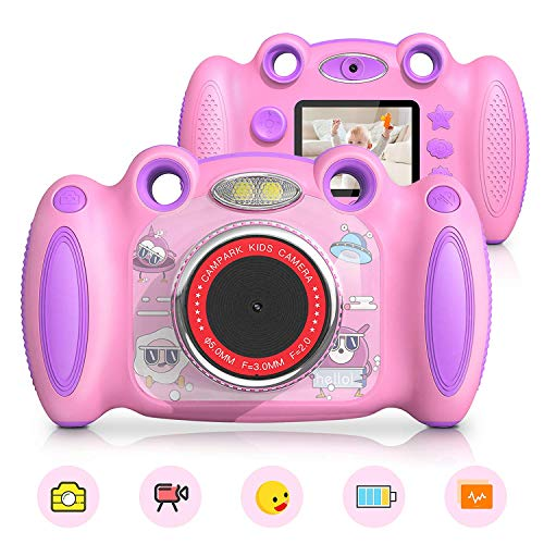 Campark Kids Cameras for Girls Boys Birthday for Age 4-8 Dual Selfie, 2 Screen Record Video Photo Play Games, Shockproof Children Digital Camera for Toddler Elementary Students
