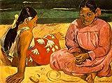 Pintura Al Óleo Digital Kit,Diy Pintura Pintada A Mano Por Números Pintura Al Óleo Digital Mujer de Tahití en el famoso cuadro de Tsuchiya de Paul Gauguin 40 * 50 cm (sin marco)