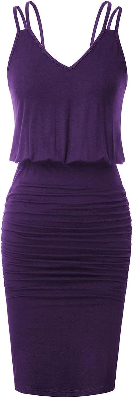 GRACE KARIN Women's Sleeveless V-Neck Spaghetti Straps Tie Dye Casual Bodycon Dress