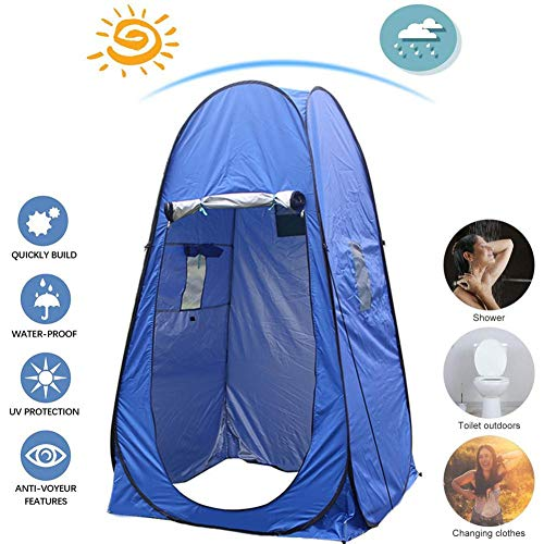 Pop Up Privacy Shower Tent, Portable Outdoor Sun Shelter Foldable UV-proof & Waterproof Instant Tent Changing Dressing Room with Carrying Bag,4 Wind Rope,8 Ground Nail, Ideal for Hiking Travel