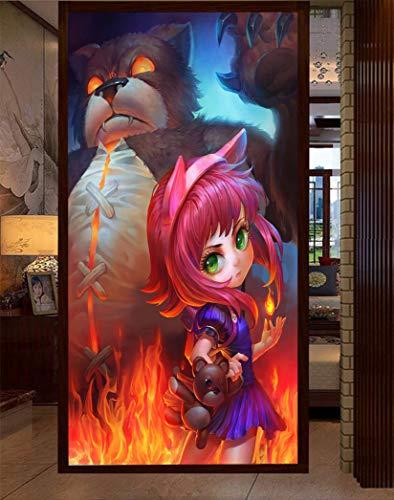 """3D LOL Annie 277 Japan Anime Tapeten Drucken Spiel Karikatur Cosplay Wandgemälde Selbstklebend Tapete MXY WALLPAPER DE Wendy (gewebt Papier (Notwendigkeit Leim), 【123""""x87""""】312x219cm(HxB))"""