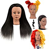 100% Real Hair Professional Mannequin Head, Cosmetology Manikin Practice Head, Upgrade Hairdresser Cosmetology Training Head For Styling Braid Curl Cut Practice (20'')