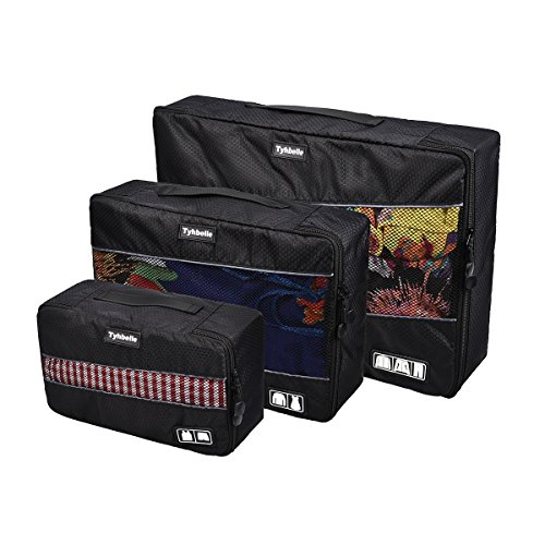 Tyhbelle Kleidertasche Packing Cubes Packwürfel im 3-teiligen Sparset Ultra-leichte Gepäckverstauer Ideal für Reise, Seesäcke, Handgepäck und Rucksäcke (Schwarz)