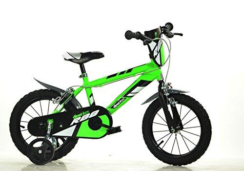 Jungen Kinderfahrrad grün 414U Jungenfahrrad – 14 Zoll | TÜV geprüft | Original | Kinderrad mit Stützrädern - Das Fahrrad als Geschenk für Jungen