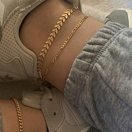 YERTTER Boho Triple Layer Anklet Gold Ankle Bracelets Beach Foot Jewelry Adjustable for Women and Girls…