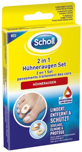 Scholl 2in1 Hühneraugen Set - Mit 6 Druckschutzpflaster, 6 Hühneraugenpflastern und 9 Druckschutz Schaum-Pflastern - 1 Set
