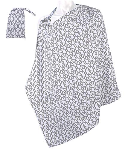 LK Baby Nursing Cover for Breastfeeding Privacy Soft 100% Cotton in Grey White