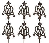 Dehner Gartenstab Ornament Spitz, 6 Stück, je ca. 140 x 17.5 x 3.2 cm, Gusseisen, edelrostfarben