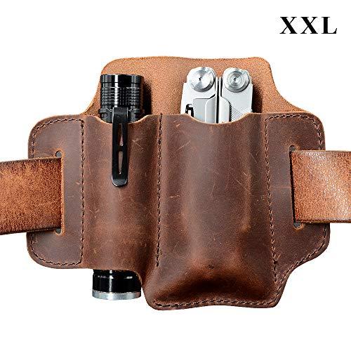 XXL EDC Leder Organizer Gürtelschlaufe, für Multitool / 12,7 cm Messer und 2,5 cm Durchmesser Taschenlampe, EDC Leder Tasche, EDC Essential Carrier, Vollnarbenleder. Kastanie
