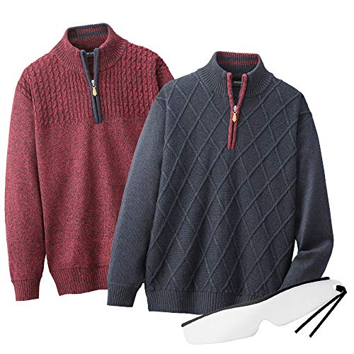 シニア 紳士 柄違いハーフジップセーター2色組 AS-0022 春 秋 冬 Pierucci/ピエルッチ しおり型ルーペ付 (M)
